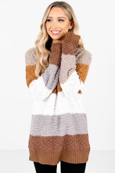 Women's Brown Round Neckline Boutique Sweater
