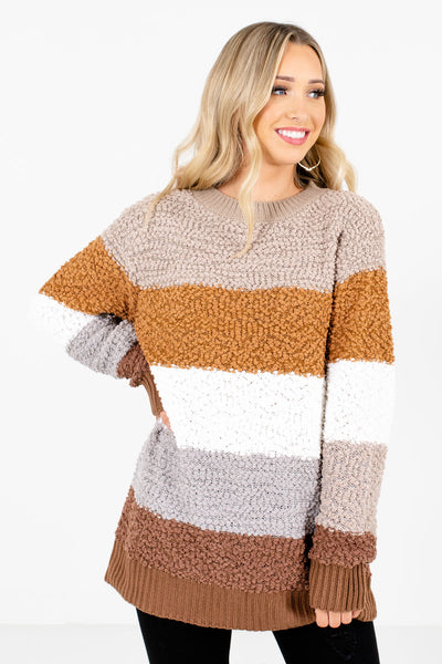 Brown Multicolored Color Block Striped Pattern Boutique Sweaters for Women