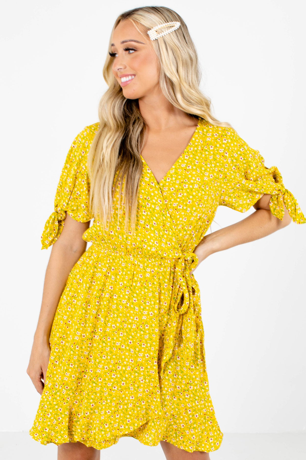 Yellow Multicolored Floral Patterned Boutique Clothing for Women