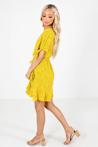 Yellow Self-Tie Sleeve Accented Boutique Mini Dresses for Women
