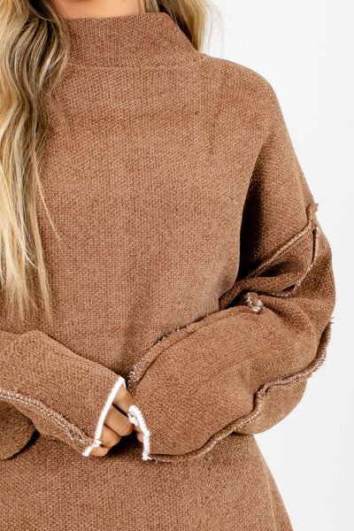 Women's Brown Oversized Boutique Sweater