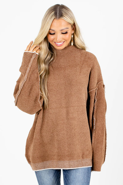 Brown Mock Neck Style Boutique Sweaters for Women