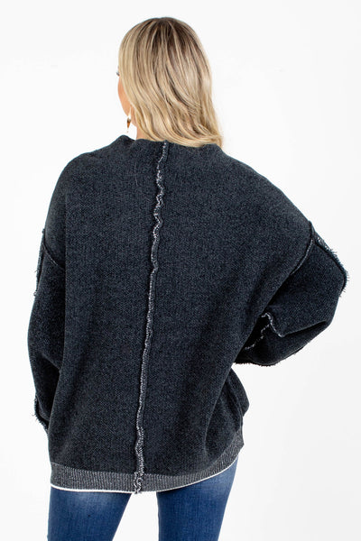 Women's Gray Soft Knit Boutique Sweater
