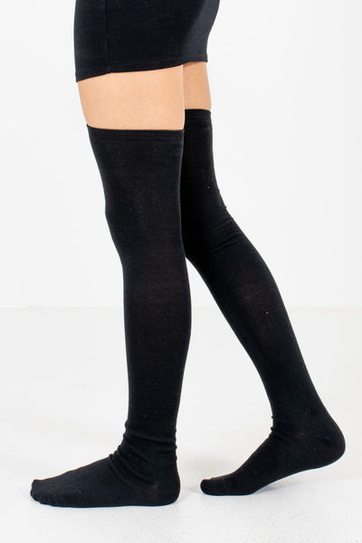 Women's Black Stretchy Material Boutique Socks