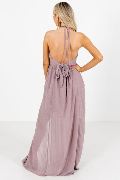 Women's Purple V-Neckline Boutique Maxi Dress