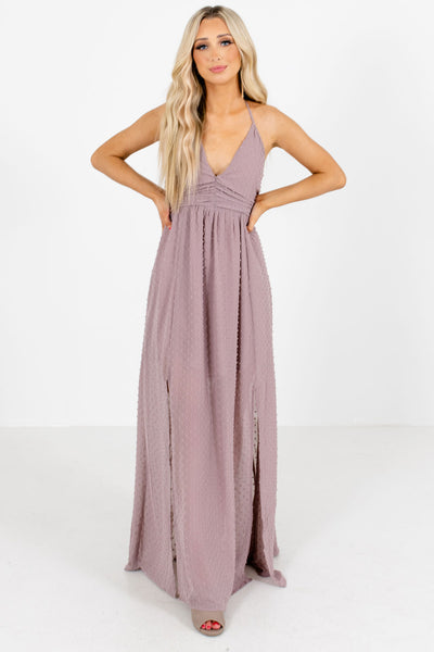 Purple Hem Slit Boutique Maxi Dresses for Women