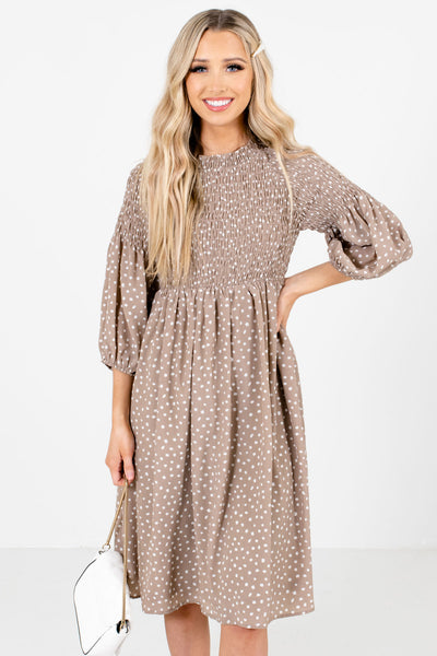 Taupe Brown and White Polka Dot Patterned Boutique Knee-Length Dresses for Women