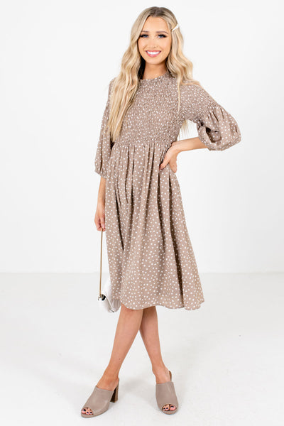 Taupe Brown 3/4 Length Sleeve Boutique Knee-Length Dresses for Women