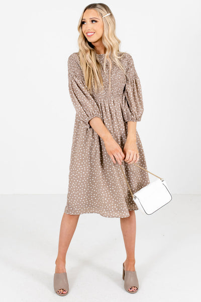 Women's Taupe Brown Partially Lined Boutique Knee-Length Dress