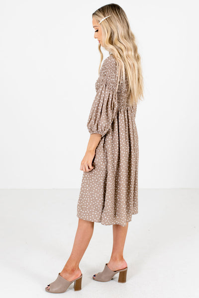 Taupe Brown Cute and Comfortable Boutique Knee-Length Dresses for Women