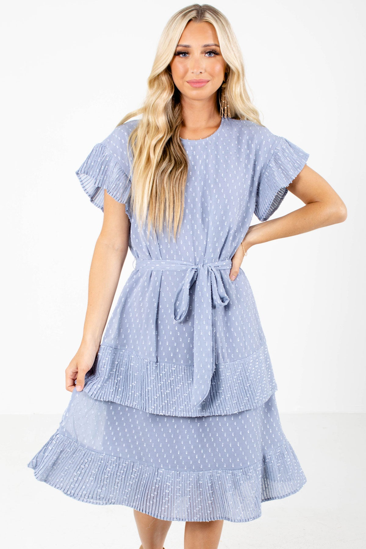 Blue Textured Material Boutique Knee-Length Dresses for Women