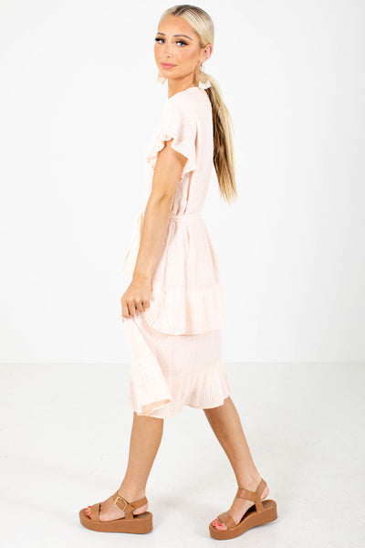 Women's Pink Business Casual Boutique Knee-Length Dress