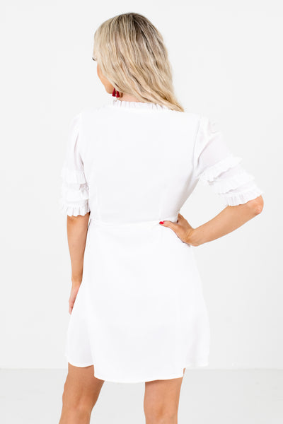 Women's White Ruffle Accented Boutique Mini Dress