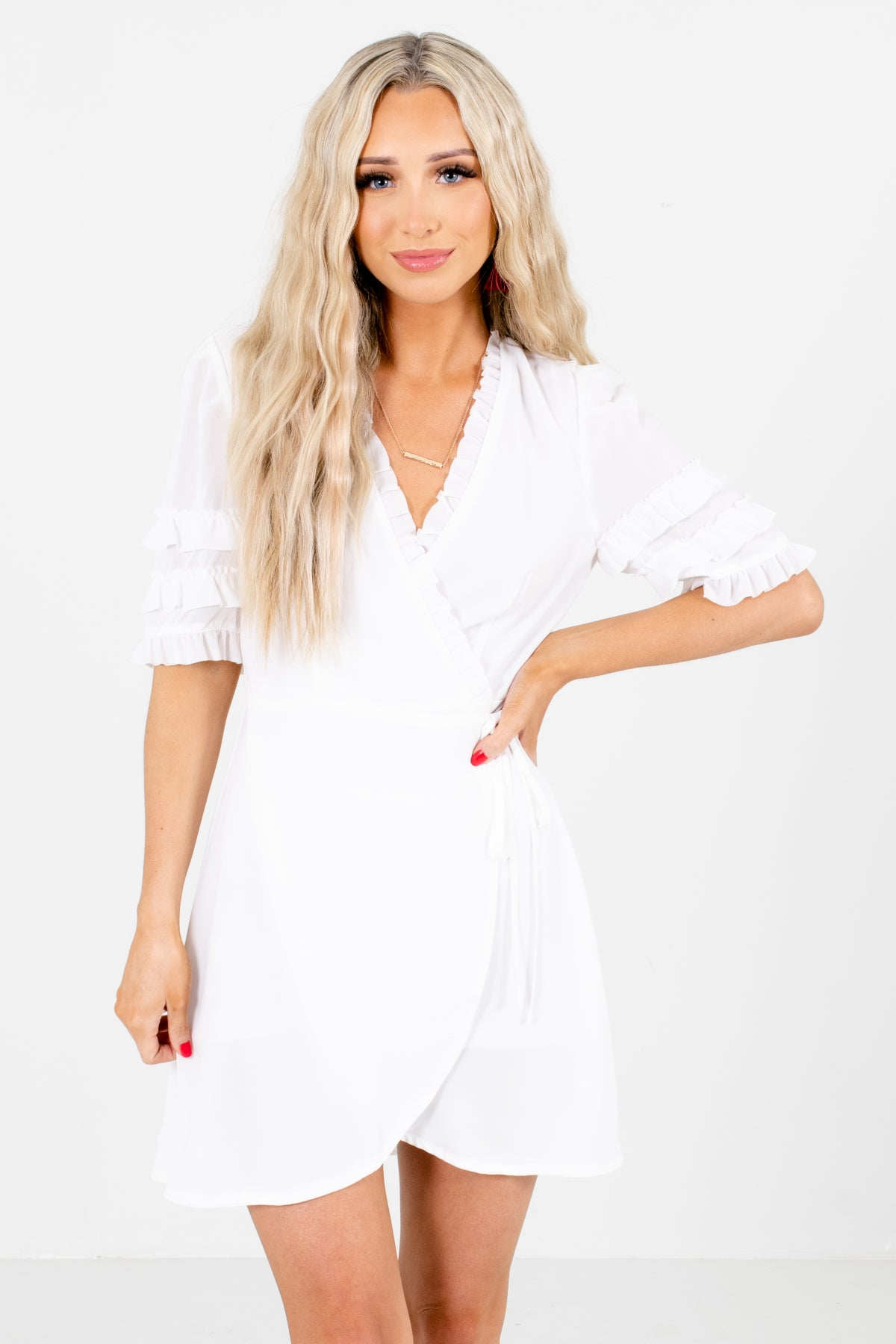 White Wrap Style Boutique Mini Dresses for Women