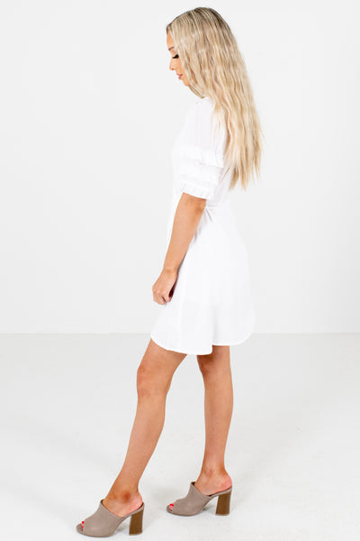 White Waist Tie Detailed Boutique Mini Dresses for Women