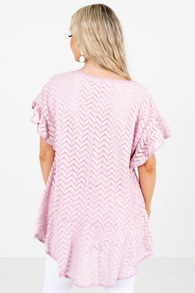 Women's Pink Round Neckline Boutique Blouse