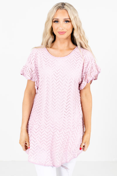 Pink Textured Material Boutique Blouses for Women