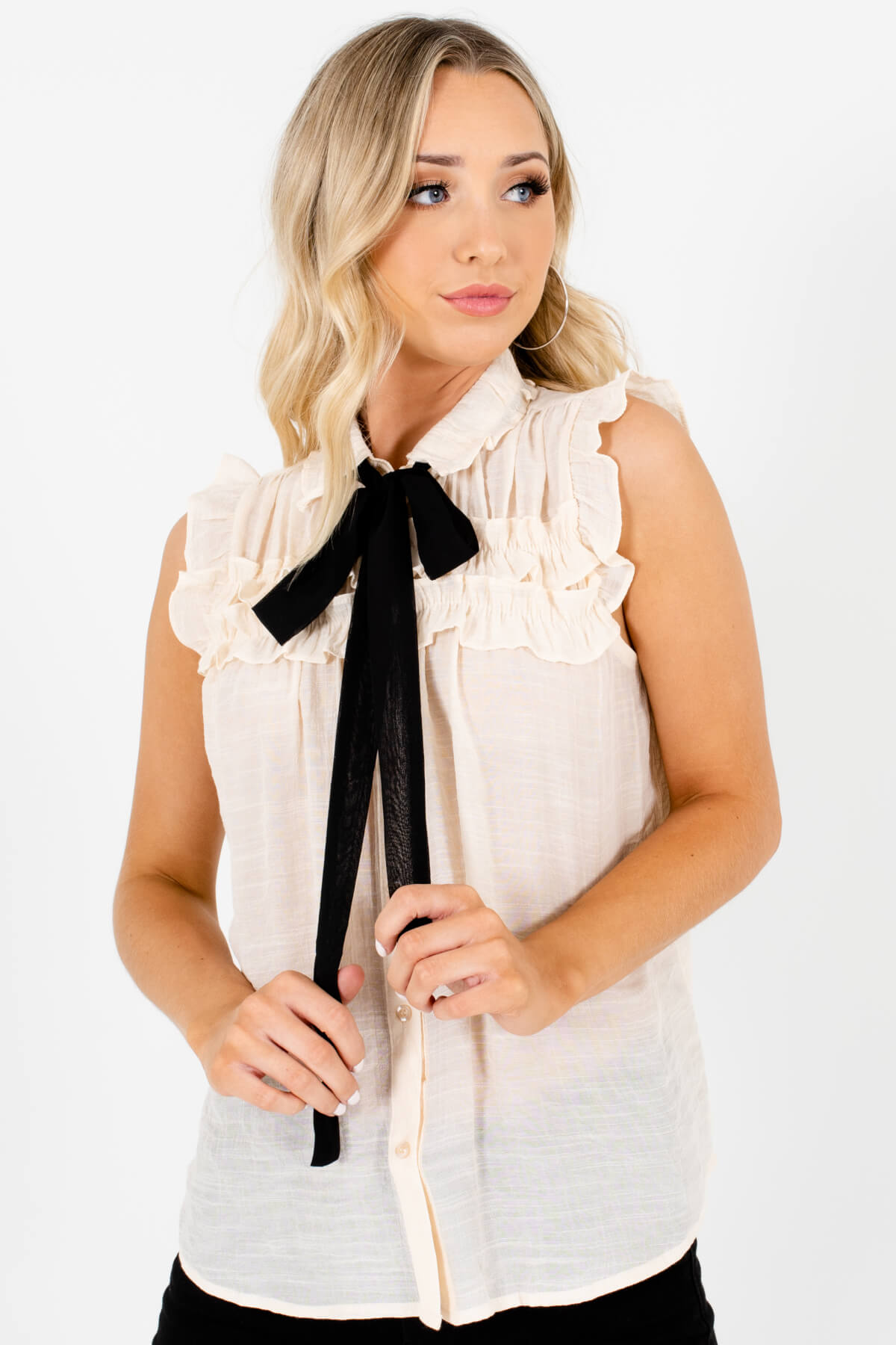Cream Ruffle Tank Sleeve Pussybow Blouses Affordable Online Boutique