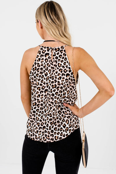 White Pink Black Brown Leopard Animal Print Satin Tanks
