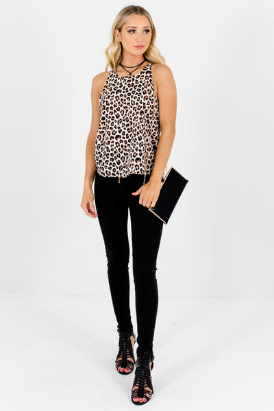 White Pink Black Brown Leopard Print Halter Tank Tops for Women
