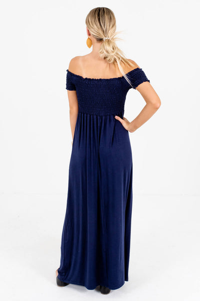 Women's Navy Blue Smocked Bodice Boutique Maxi Dress