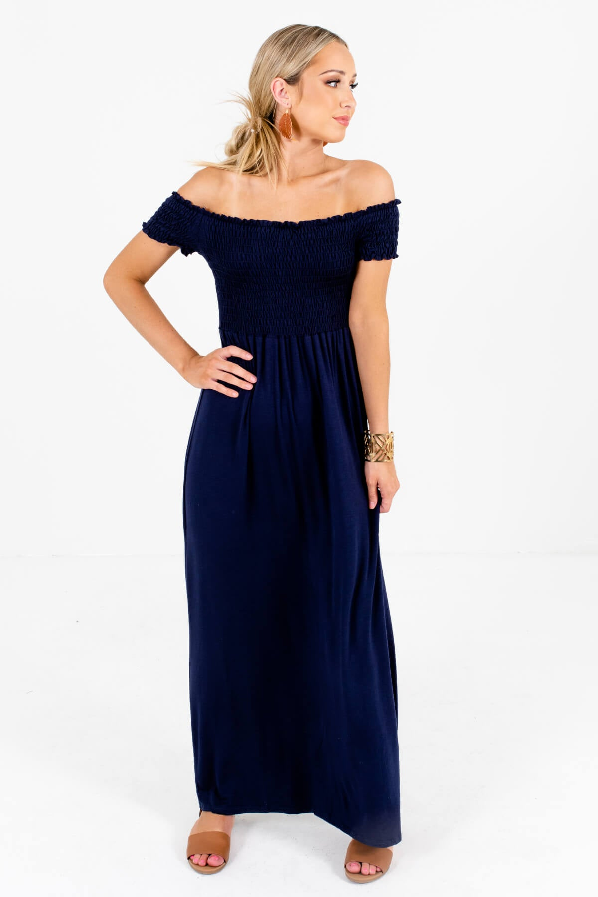 Navy Blue Optional Off Shoulder Style Boutique Maxi Dresses for Women