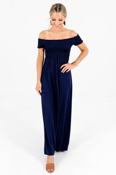 Navy Blue High-Quality Stretchy Material Boutique Maxi Dresses for Women