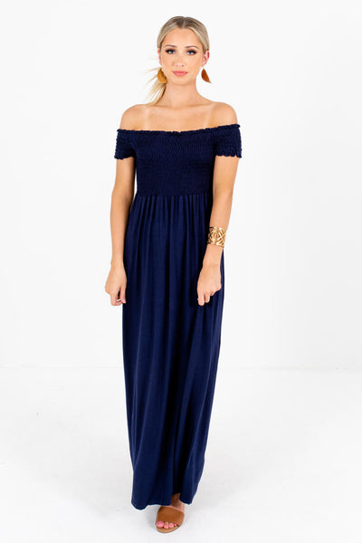 Women's Navy Blue Casual Daytime Outfit Boutique Maxi Dress