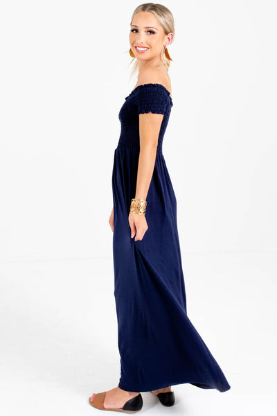 Navy Blue Short Sleeve Boutique Maxi Dresses for Women