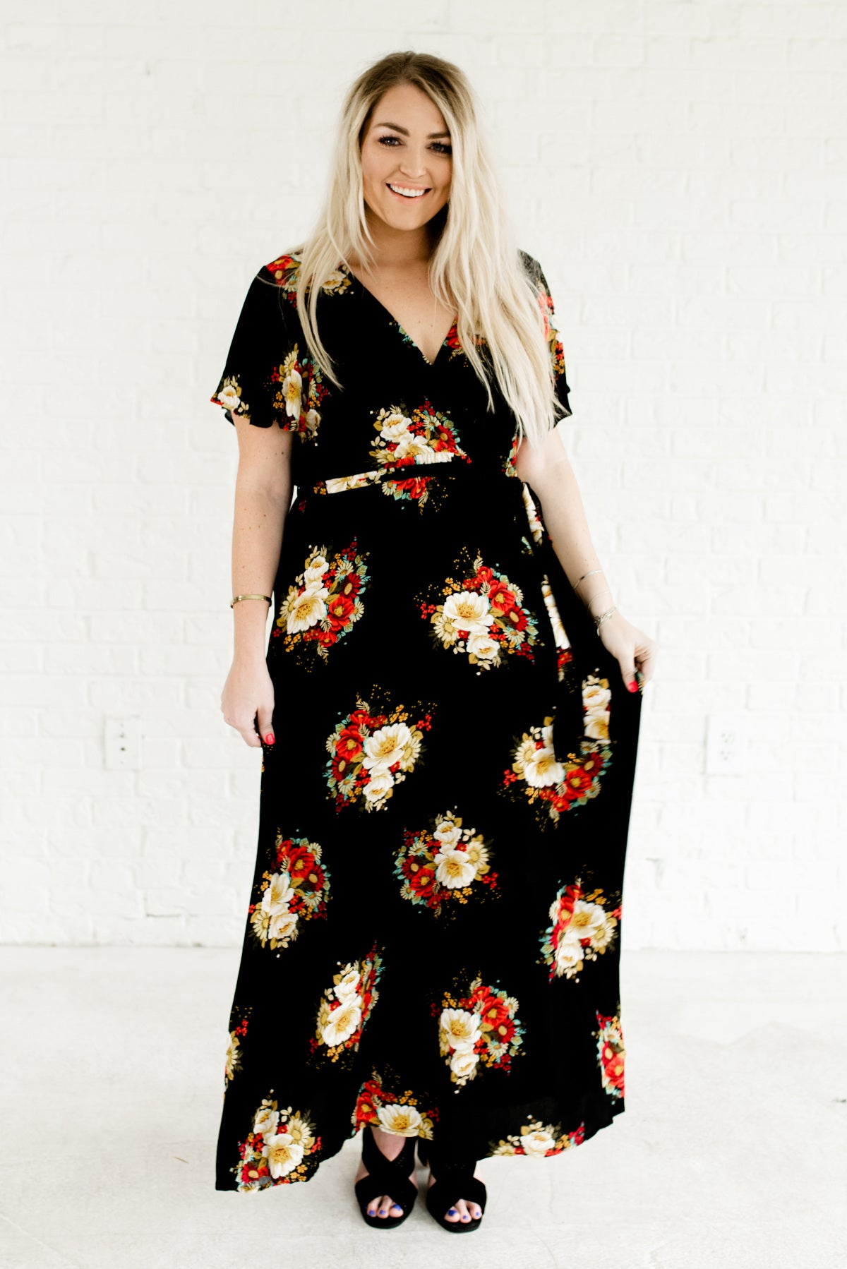 365d688c288b The Secret Garden Black Floral Maxi Dress | Plus Size Maxi Dress
