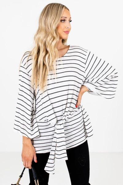 Heather Gray Striped Boutique Tops for Women