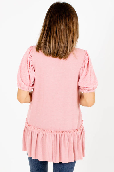 Women's Pink Swiss Dot Material Boutique Tops