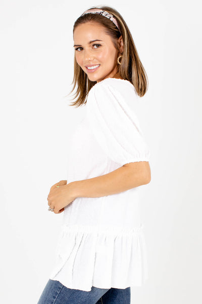 Women's White Contrasting Material Boutique Top