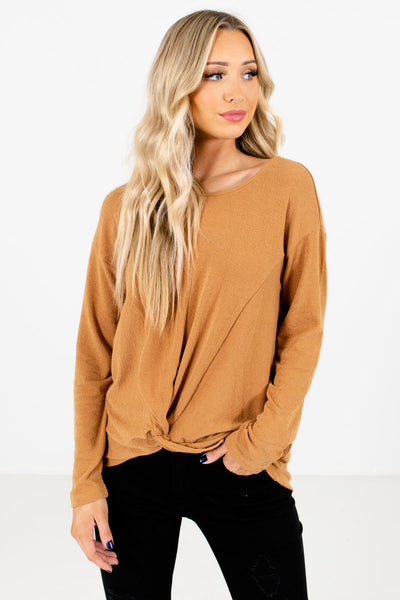 Mustard Infinity Knot Detail Boutique Tops for Women