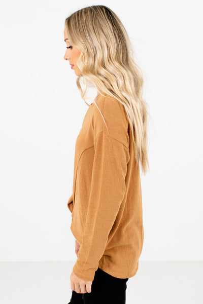 Mustard Long Sleeve Boutique Tops for Women
