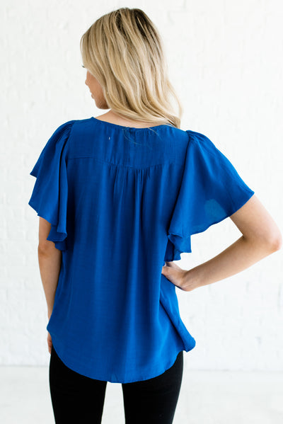 Women's Royal Blue Keyhole Back Boutique Tops
