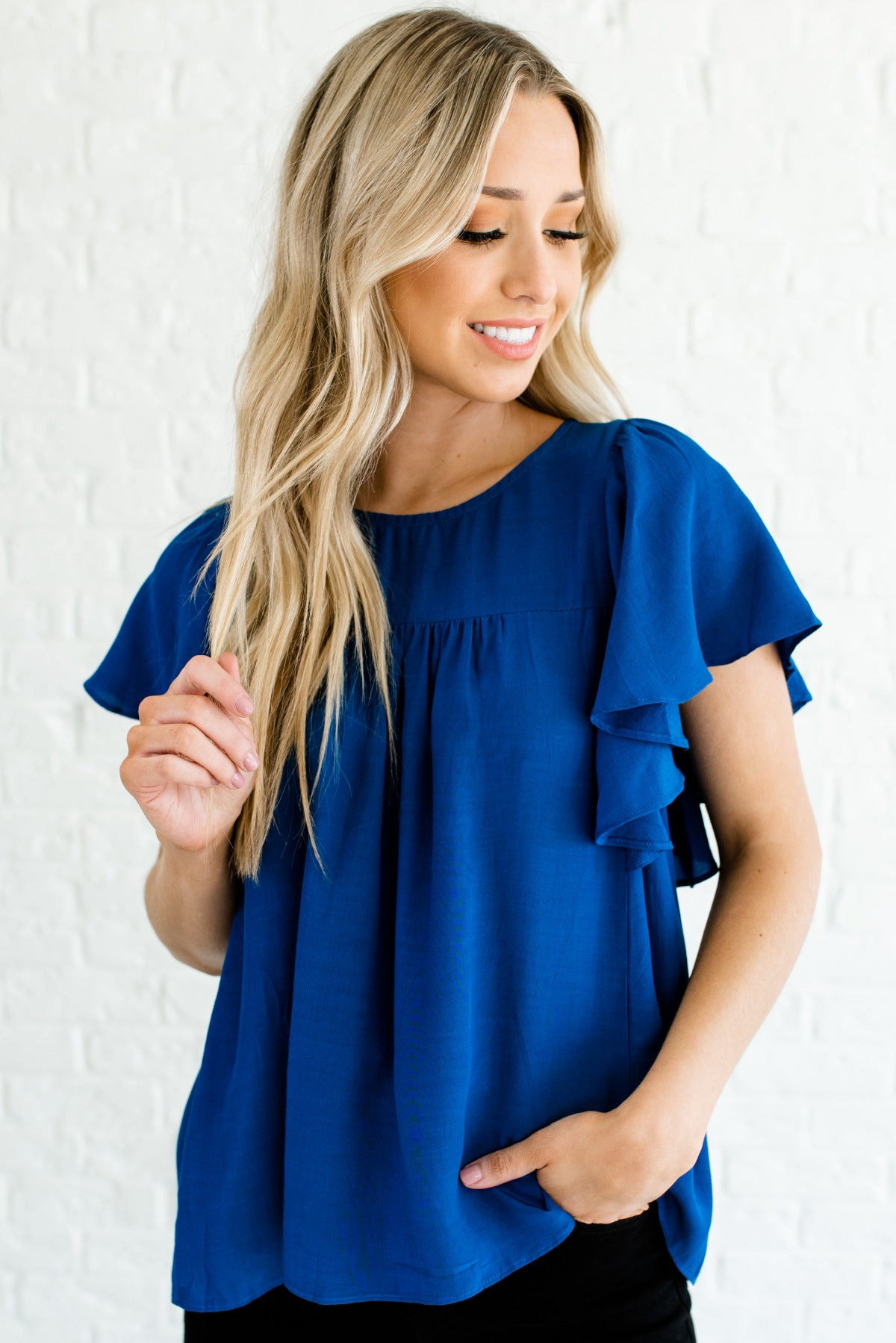 Royal Blue Butterfly Sleeve Style Boutique Tops for Women
