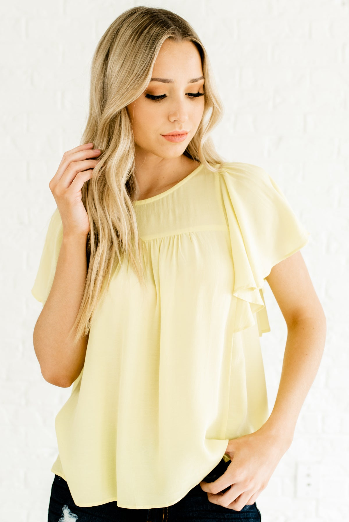 Yellow Butterfly Sleeve Style Boutique Tops for Women