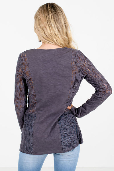 Women's Charcoal Gray Semi-Sheer Boutique Tops