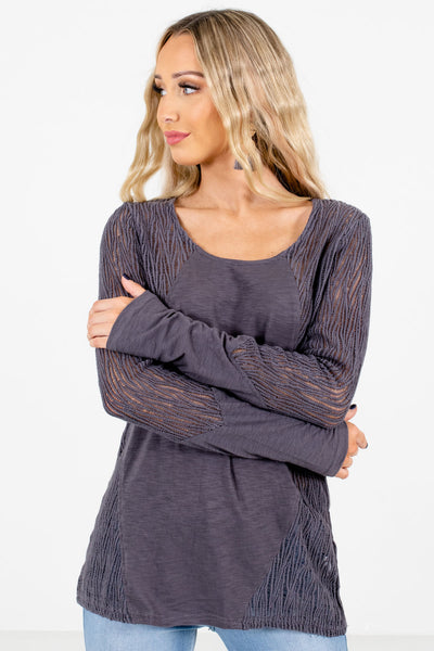 Women's Charcoal Gray Round Neckline Boutique Tops