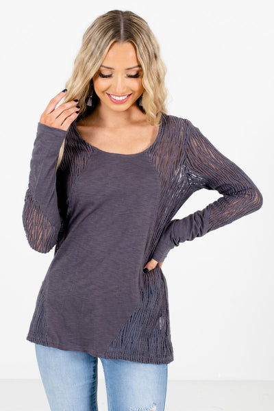 Charcoal Gray Crochet Lace Detailed Boutique Tops for Women