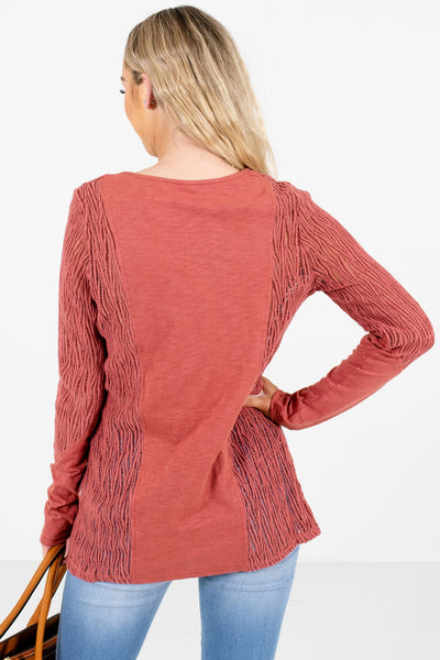 Women's Coral Semi-Sheer Boutique Tops