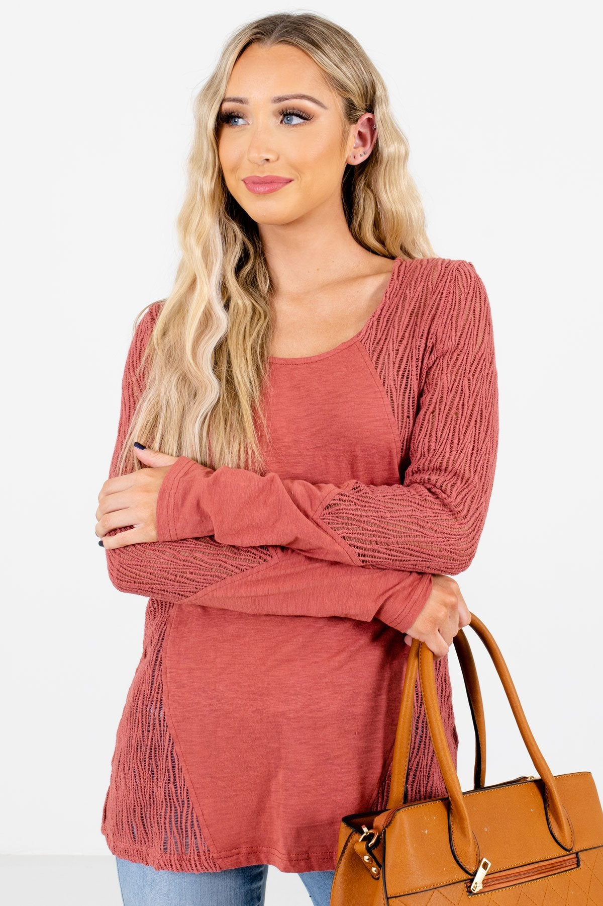 Coral Crochet Lace Detailed Boutique Tops for Women