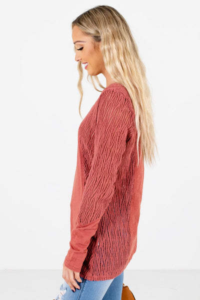 Coral Long Sleeve Boutique Tops for Women