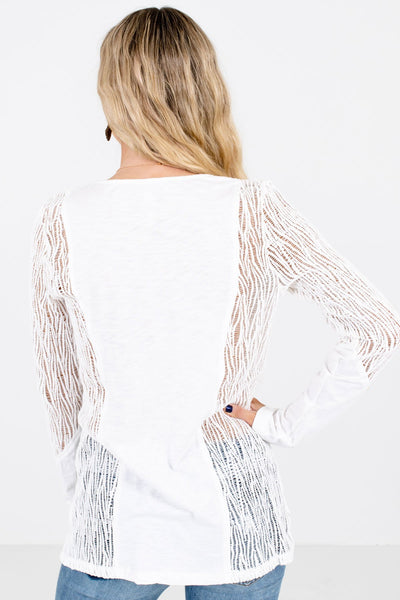 Women's White Semi-Sheer Boutique Tops