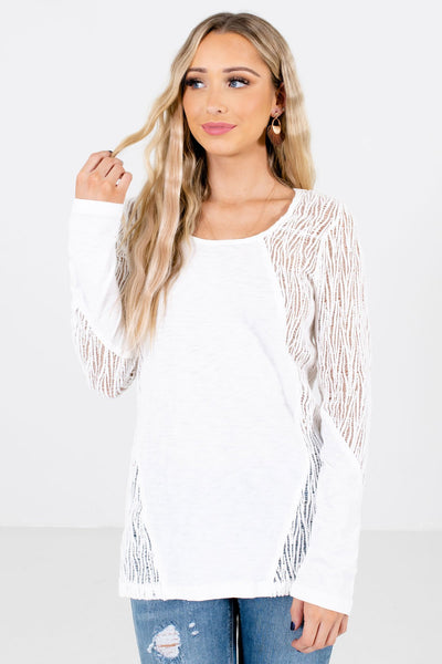 White Crochet Lace Detailed Boutique Tops for Women