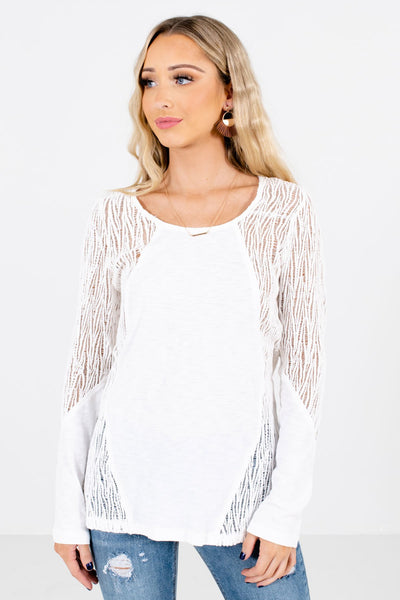 Women's White Round Neckline Boutique Tops