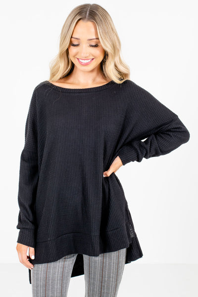 Black High-Quality Waffle Knit Material Boutique Tops for Women
