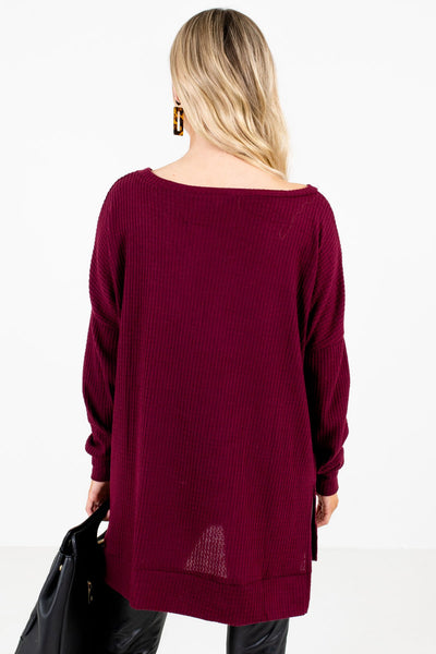 Women's Burgundy Split High-Low Hem Boutique Tops