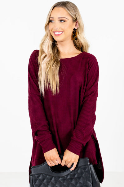 Women's Burgundy Casual Everyday Boutique Clothing